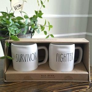 Rae Dunn Survivor and Fighter Coffee Mug Set